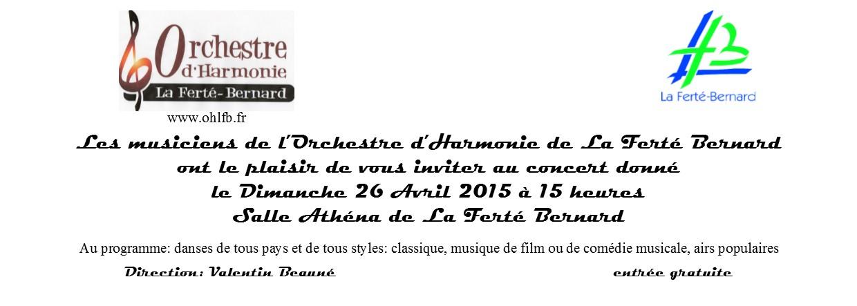 Invitation concert 26 Avril 2015